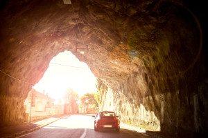 porsche in tunnel